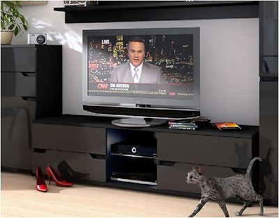 Aspire High Gloss Black TV Stand Media Unit Lounge Furniture with LED P980AS30