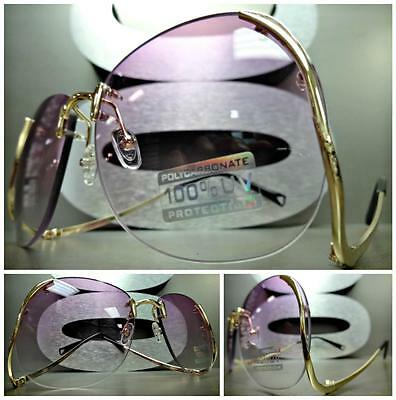 OVERSIZED VINTAGE 70s RETRO Style  SUNGLASSES Upside Down Gold Frame Purple Lens
