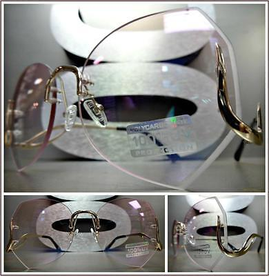 OVERSIZED VINTAGE RETRO Style SUN GLASSES Upside Down Gold Frame Pink Clear Lens