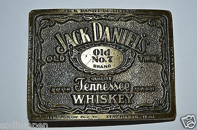Vintage Jack Daniels Tennessee Whiskey Old No 7 Brass Tone Belt Buckle RARE