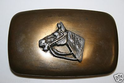 Vintage Mid Century Chambers Brass Western Cowboy 3D Horse Belt Buckle Rodeo