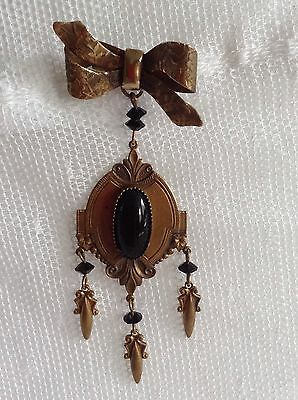 You To Full Victorian Metal Black Stone Bow Dangle Brooch