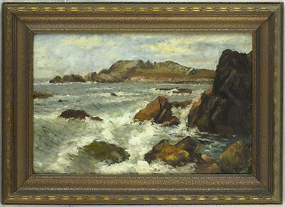 Laura Woodward (1834-1926) American Hudson River School Oil/Panel Seascape Maine