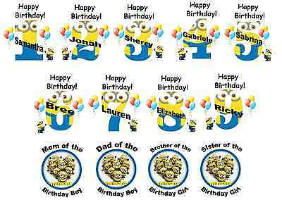 DESPICABLE ME Minions  Birthday numbers T shirt Iron on Transfer personlized age