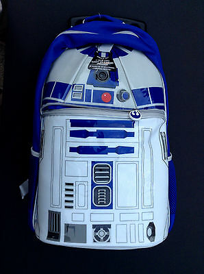 DISNEY Store ROLLING BACKPACK Star Wars R2-D2 Talking Light-Up NWT