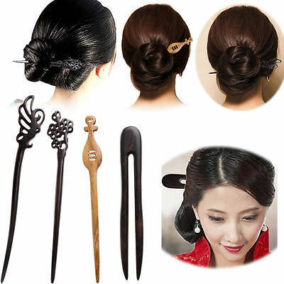 Traditional Carved Ebony Wooden Hair Pin Stick Original Retro Women Lady 1Pc New