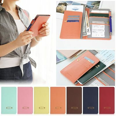 New PU Leather Passport Holder Travel Card Money Wallet RFID Blocking Case Cover