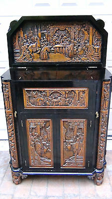 Antique Chinese Lacquered Carved Camphor Wood Bar,cabinet,dragons,court Scenes
