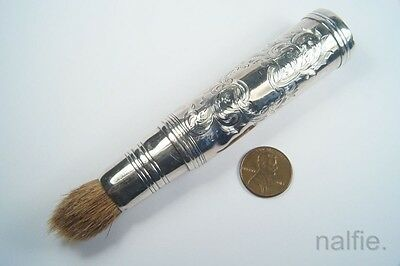ANTIQUE ENGLISH MID VICTORIAN STERLING SILVER SHAVING ? BRUSH c1854