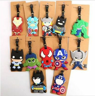 70 Styles Marvel Superman Batman Thor Ironman Captain America Flash Luggage Tags