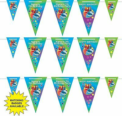 Personalised Twirlywoos Birthday Bunting Banner 3m-15 pendants, name/age
