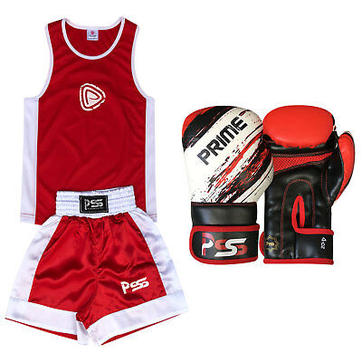 New Kids Boxing Uniform Set Top & Short Age 3-14 Years Boxing Gloves 1012 Red