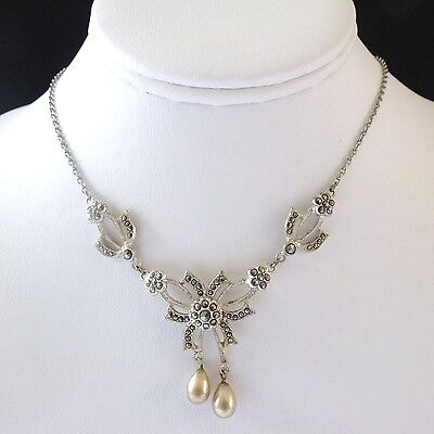 Lovely Vintage Silver Tone Marcasite Necklace Glass Pearl Drop Decoration