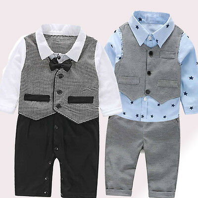 3PCS/Set Baby Boy Bow Tie Suit Formal Party Christening Wedding Tuxedo Waistcoat