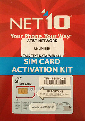 > Net10 Lte Dual Sim Card Unlimited At&T $35 Mo,,,,,