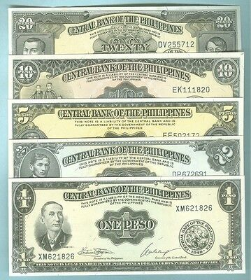 Philippines 1949 English Series 1-2-5-10 &20 Peso Notes, All Cu