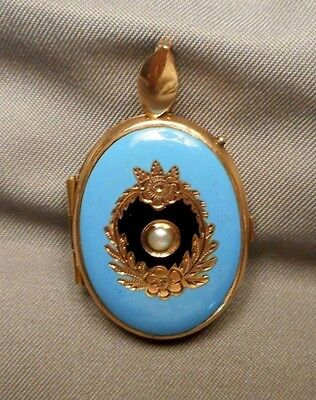 Antique Victorian Gold Filled Oval Locket - Cerulean Blue Enamel & Seed Pearl