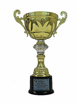 "Personalized 14.5"" Gold Trophy Cup w/ Silver Trim fantasy football trophy award"