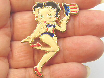 Vtg Betty Boop Pin Uncle Sam Red White Blue Election Vote Republican Democrat