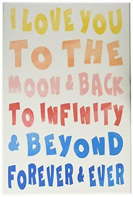 """The Kids Room by Stupell """"Love To Moon and Back Rainbow Typography"""" Wall Plaque"""
