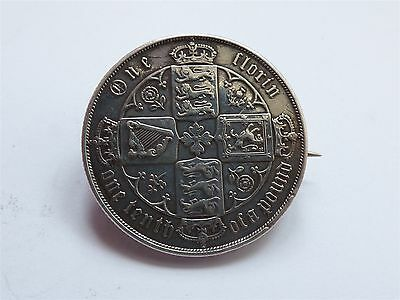 Victoria Gothic Florin 1879 Sterling Silver Nice Grade Brooch (myrefn47E)
