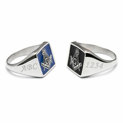 Personalised Initials & Lodge Number Masonic Ring Square & Compasses Black Blue