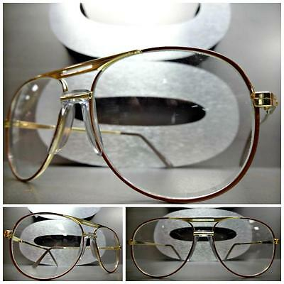 Mens Women CLASSIC VINTAGE RETRO Clear Lens EYE GLASSES Small Brown & Gold Frame