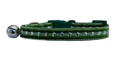Green and silver heart middle  velvet  safety kitten cat collar 3 sizes