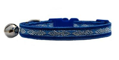 Beautiful blue velvet silver middle  safety kitten cat collar 3 sizes