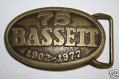 Vintage Aged 1977 BASSETT Furniture 75th Anniversary Brass Belt Buckle