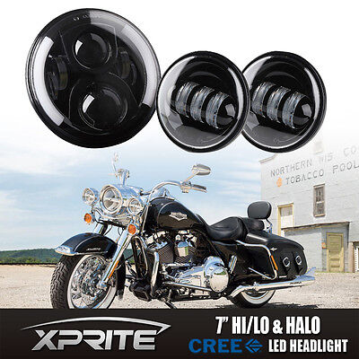 "Xprite Headlight 7"" Round G2 50W CREE LED & Fog Light Harley Davidson Motorcycle"