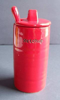 The Pottery Barn Bbq Grill Table Accessory Ketchup Condiment Serving Jar & Spoon