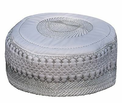 NEW White Metallic Silver Thread Islamic Thinly Padded Embroidery Kufi Hat Cap