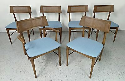 set of 6 mid century Danish modern walnut caned back blue tweed dining chairs