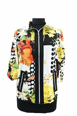 Women's Floral Polka Dot Print 3/4 Sleeves Zip Front Cotton Blend Knit Jacket