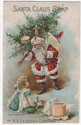 1880's SANTA CLAUS Soap Trade Card w/ List of Gifts on Reverse ~ Christmas Tree