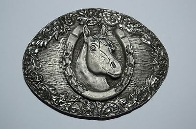 Vintage Lucky Horse Shoe Cowboy Rodeo Western High End Pewter Belt Buckle 1993