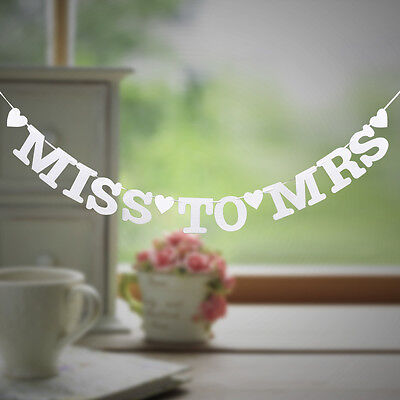 Miss To Mrs Banner Bunting Bridal Shower Bachelorette Hen Party Night Decoration