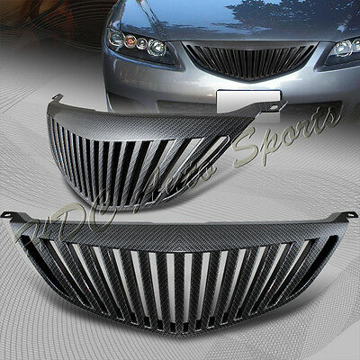 For 2003-2005 Mazda 6 Sedan Vertical ABS Carbon Style Front Bumper Grille Grill