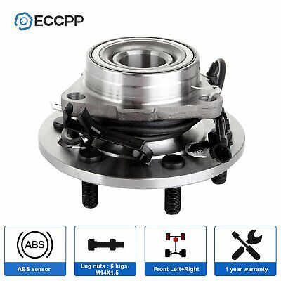 New Wheel Hub and Bearing Assembl Front For GMC Chevy Cadillac ABS y 4WD 6 Bolt