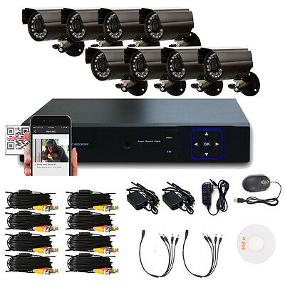8PCS 1300TVL Waterproof Cameras 8CH HD 960H DVR Outdoor CCTV Security System