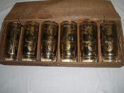 Retro Vintage Hand Made Laani  Drink Glasses X 6 In Wooden Box