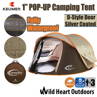 3 Person Pop-Up Tent Waterproof UV Protection Instant Set-Up D-Door