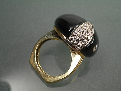 Fine Vintage American La Triomphe 14K Gold Onyx Diamond Cocktail Ring  4 1/2 Usa