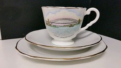Royal Stafford trio. Sydney Harbour Bridge Cup saucer & cake plate. A+ condition