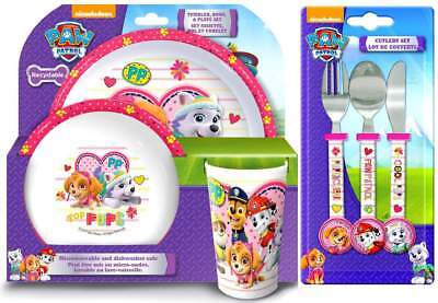 PAW Patrol 'Pawsome' Girls 6-Piece Dinner and Cutlery Set | Tableware | Mealtime