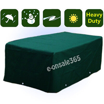 Green Waterproof Patio Furniture Cover for Outdoor Garden Rattan Table Chair Set