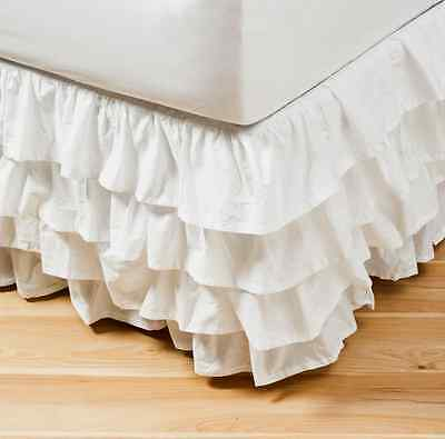 Shabby Vintage White Chic Ruffled Tier Flamenco Queen Valance Bed Skirt