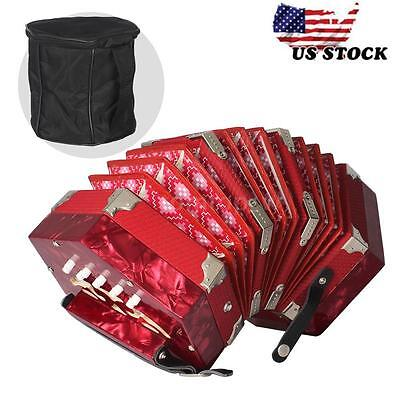 Concertina Accordion 20-Button 40-Reed Anglo Style with Carrying Bag O2R4