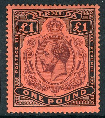 BERMUDA-1918-22 £1 Purple & Black Red.  A mounted mint example Sg 55